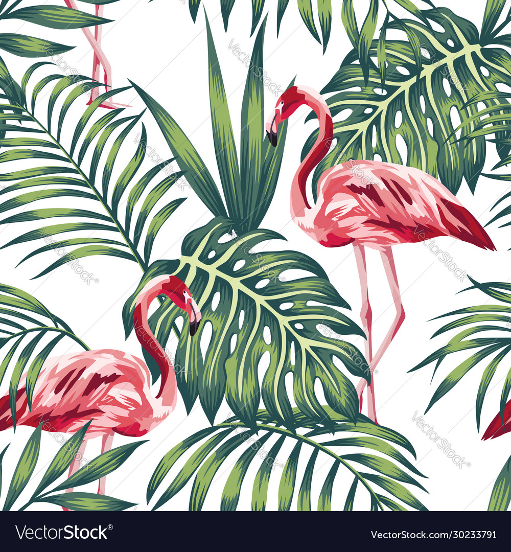 Flamingo green leaves white background seamless