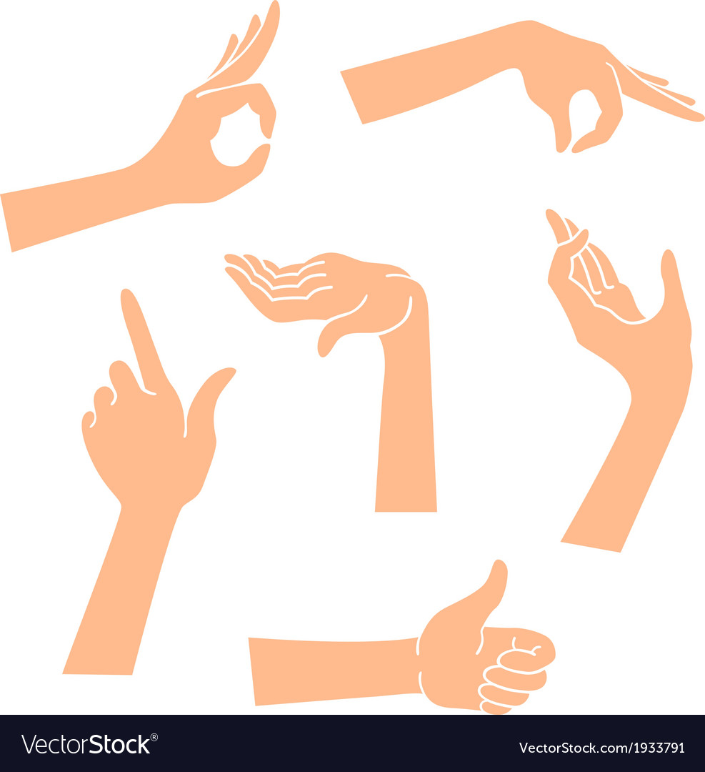 hands icons in a realistic poses royalty free vector image