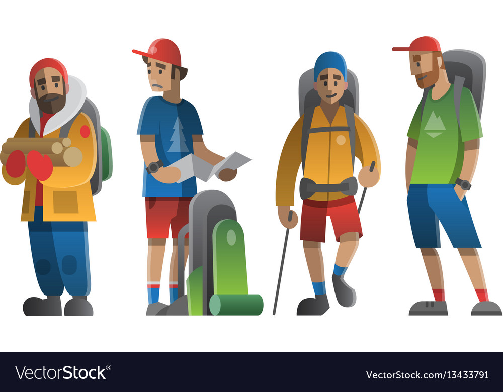 Hiking man characters set
