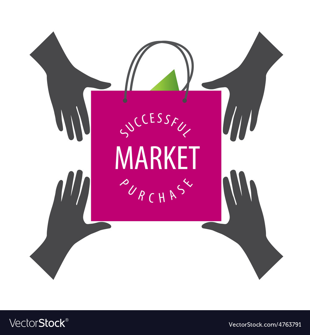 Logo shopping bag from hand to hand vector image