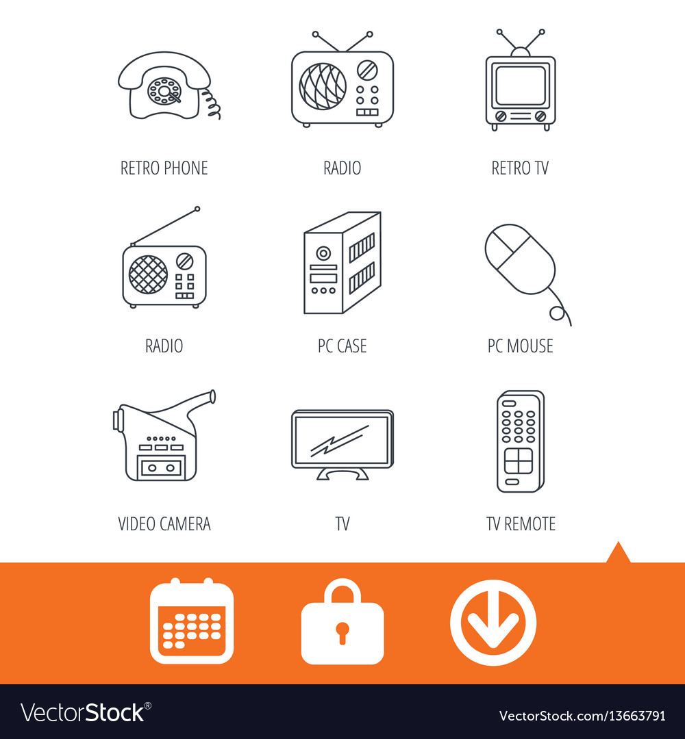 Radio tv remote and video camera icons