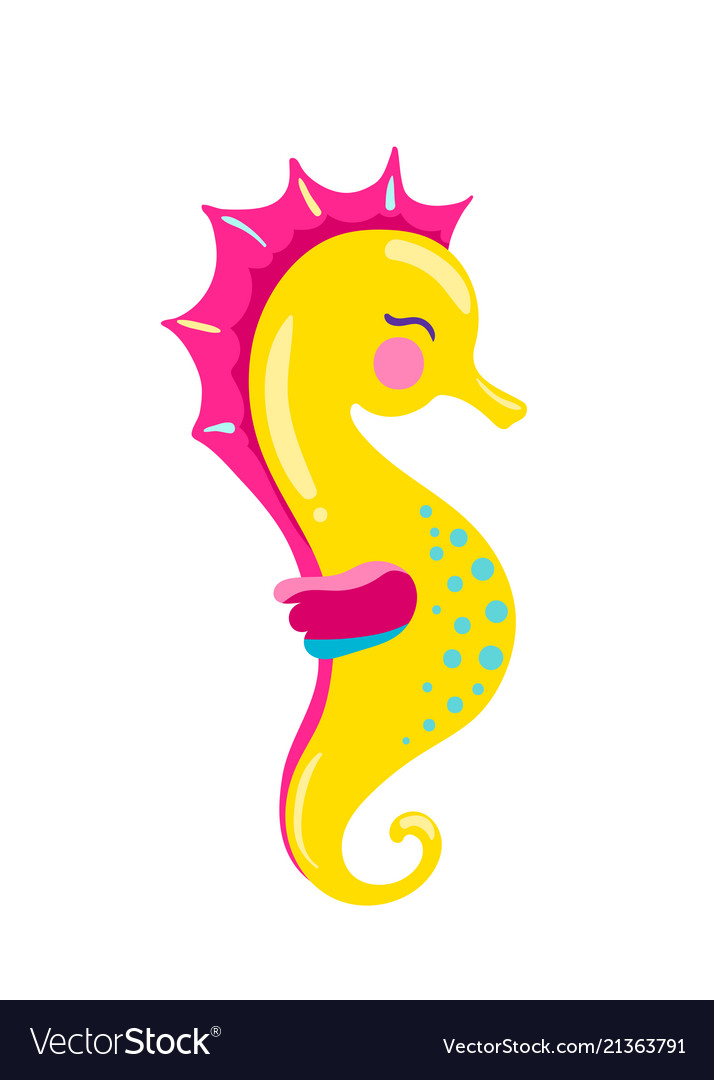 Seahorse Cartoon Royalty Free Vector Image Vectorstock