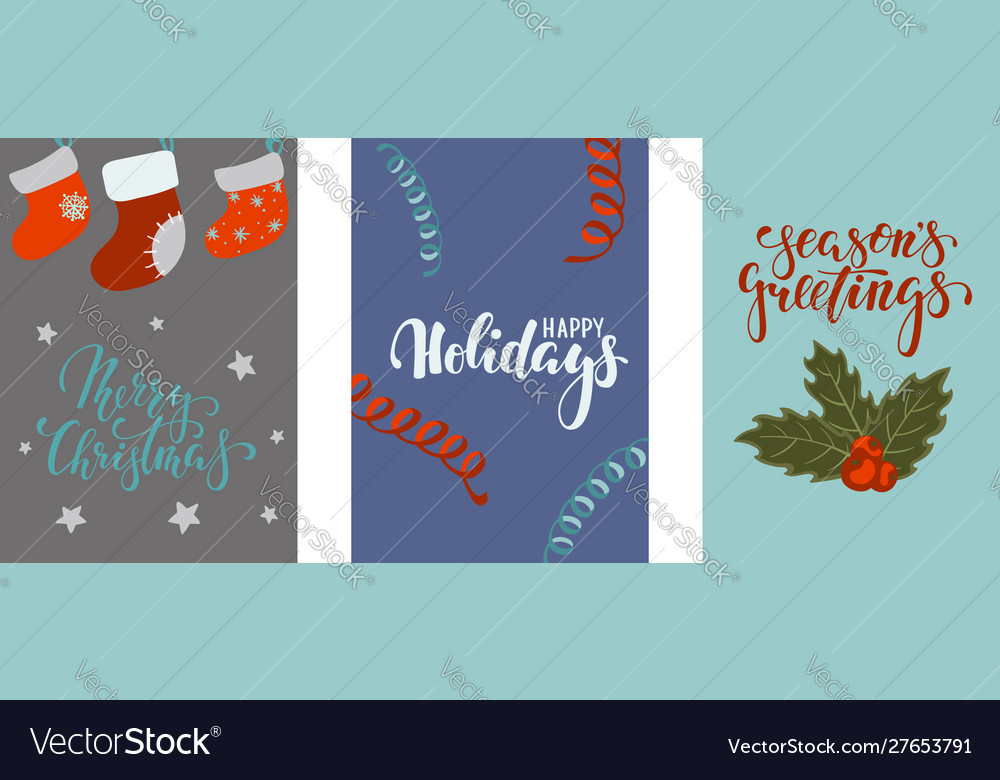 Set christmas and happy new year greeting cards