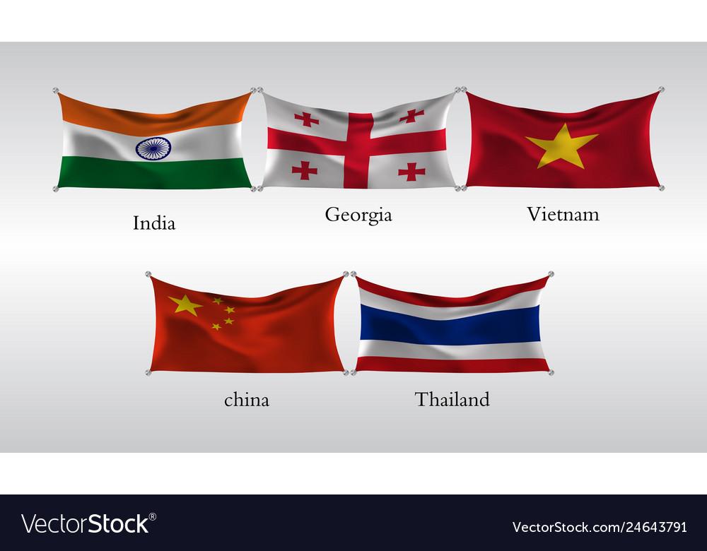 Set flags of countries in asia india georgia