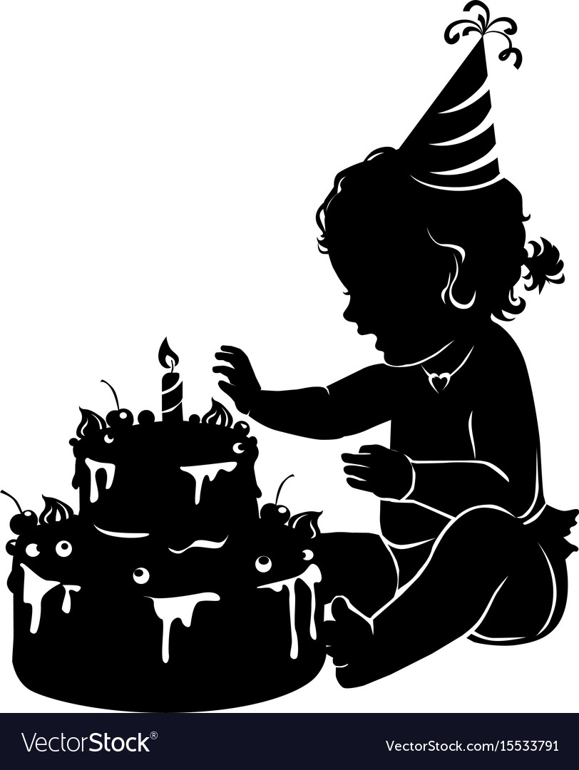 Silhouette baby girl with birthday cake with