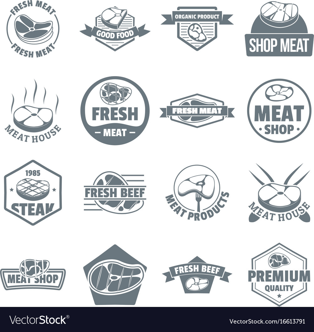 Steak logo icons set simple style