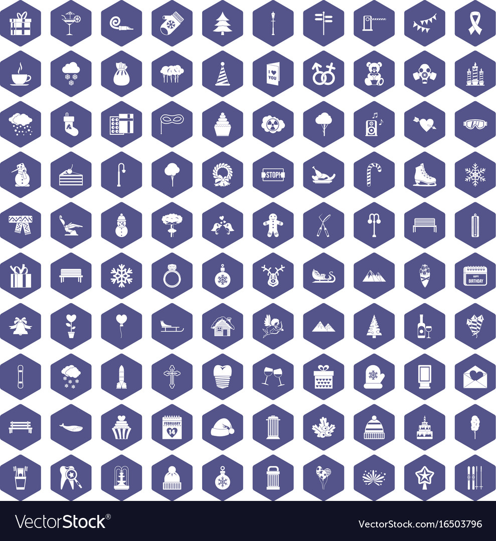 100 winter holidays icons hexagon purple