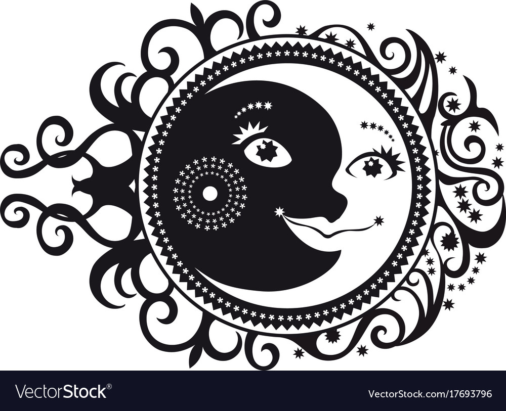 Abstract Pattern Crescent Moon And Sun Symbol Vector Image