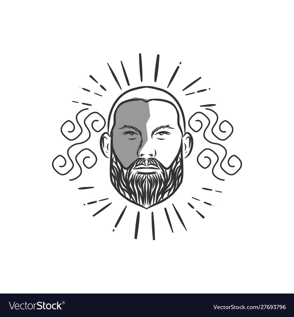 Bald man with beard vintage style