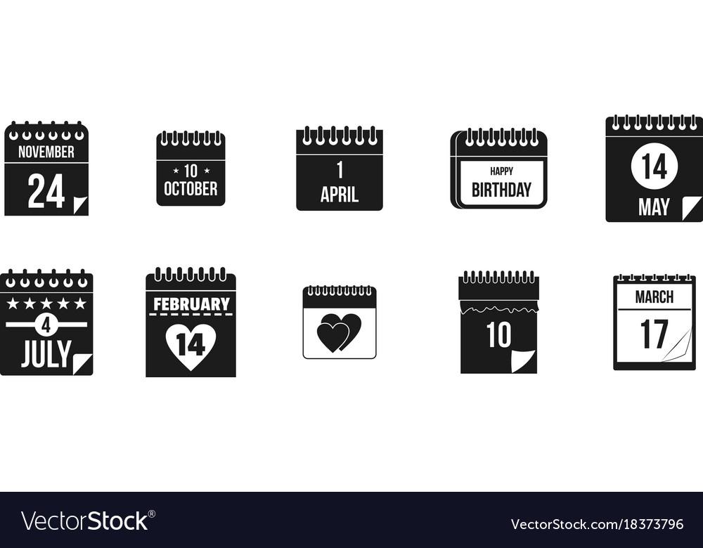 Calendar date icon set simple style