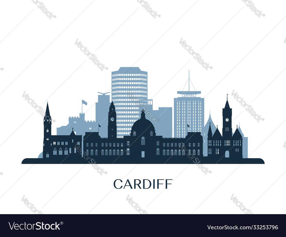 Cardiff skyline monochrome silhouette