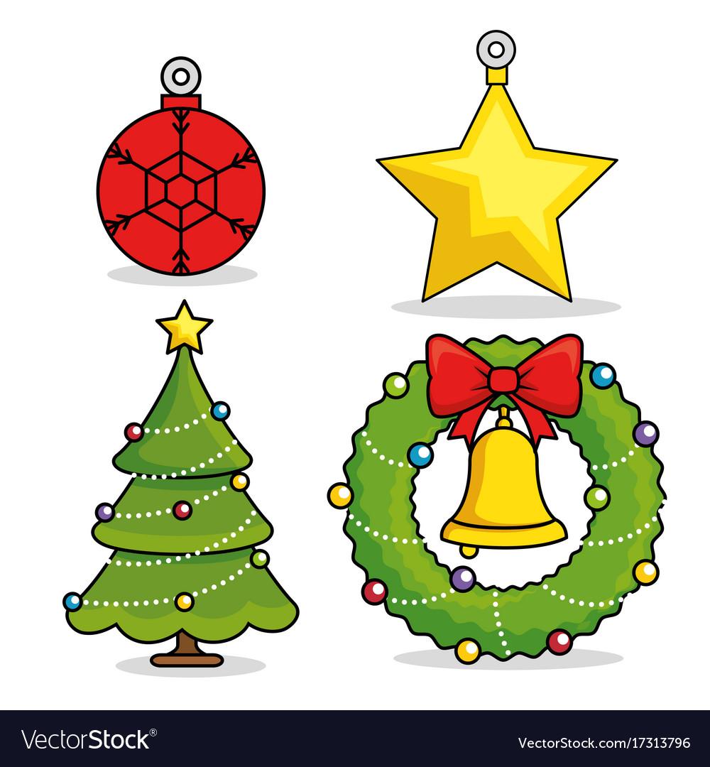 Christmas holiday decoration set Royalty Free Vector Image