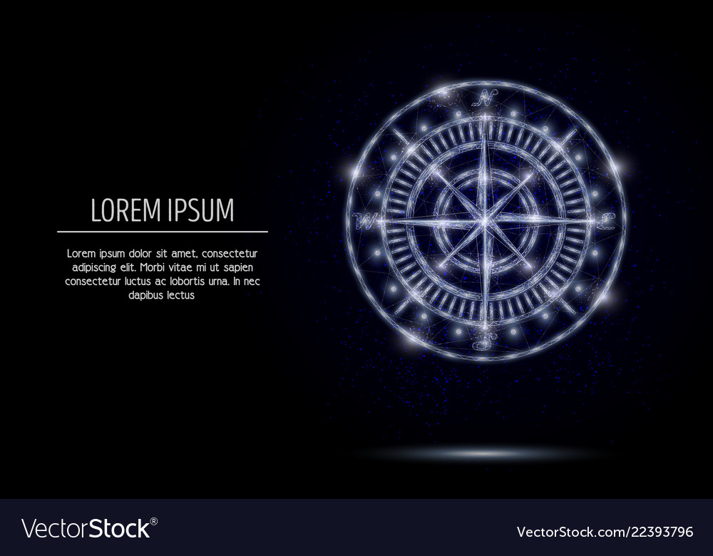 Compass rose geometric polygonal art style