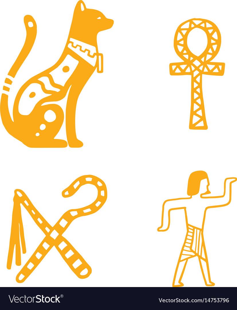 Egypt travel history sybols hand drawn design