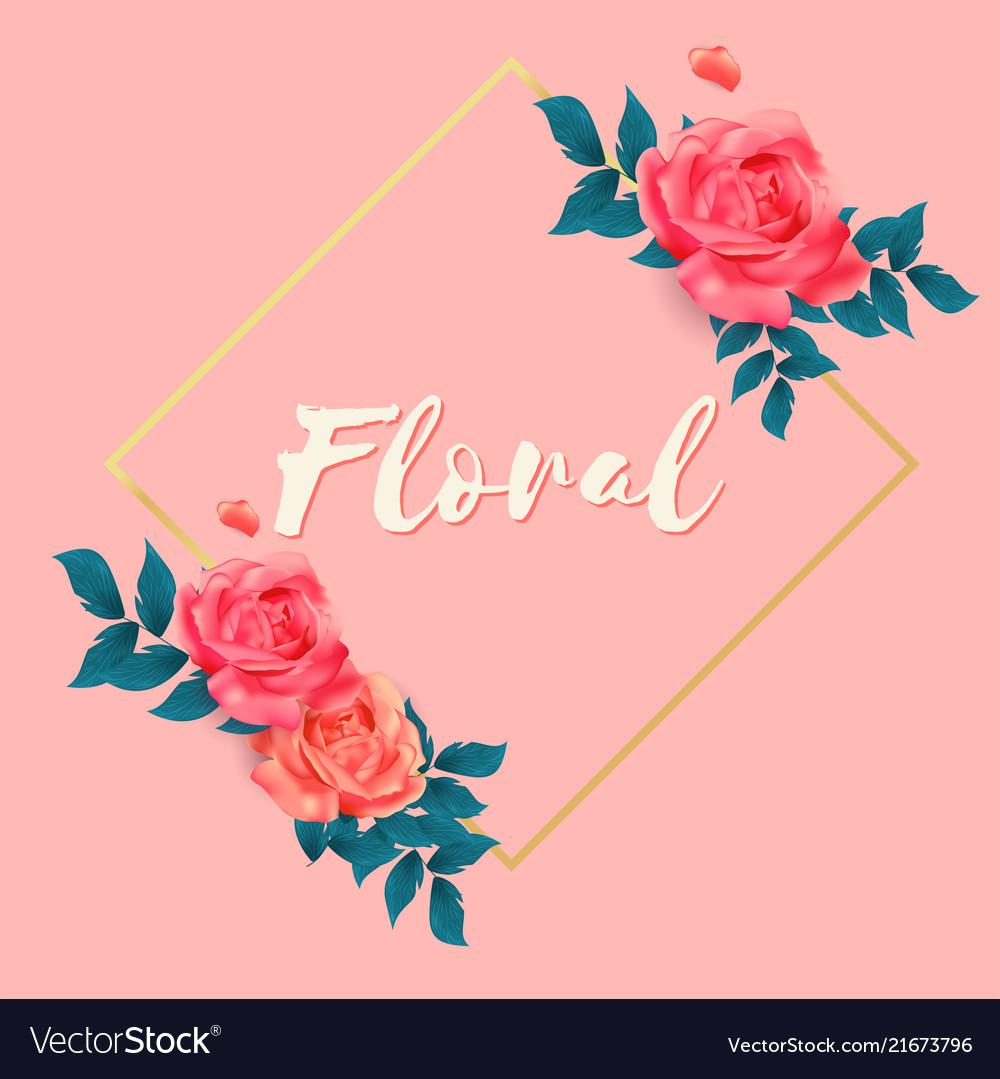 Floral roses square frame pink background i