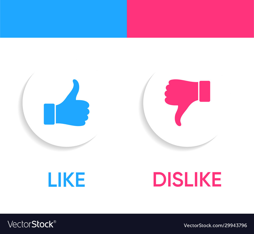 Like and dislike icons with thumbs