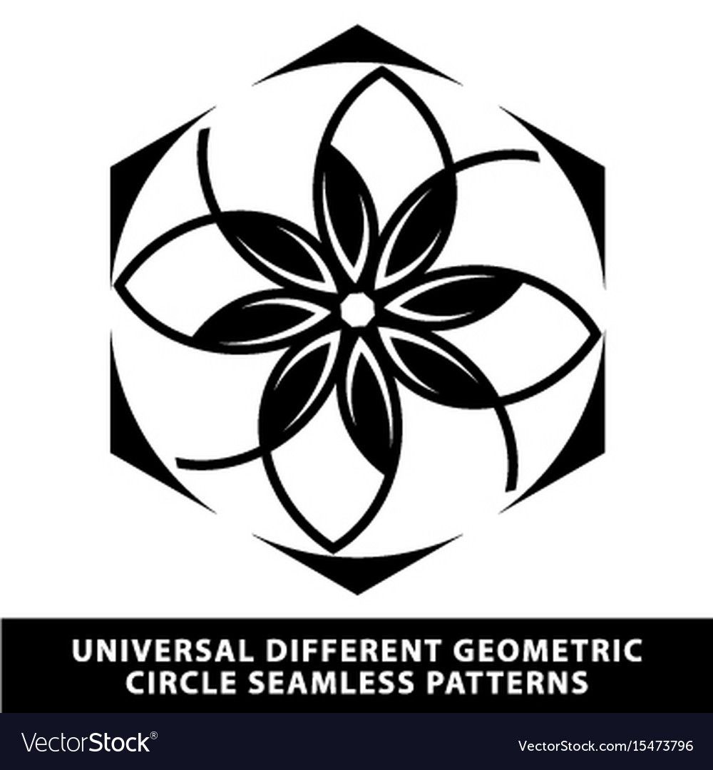 Pattern seamless floral tile circle black and