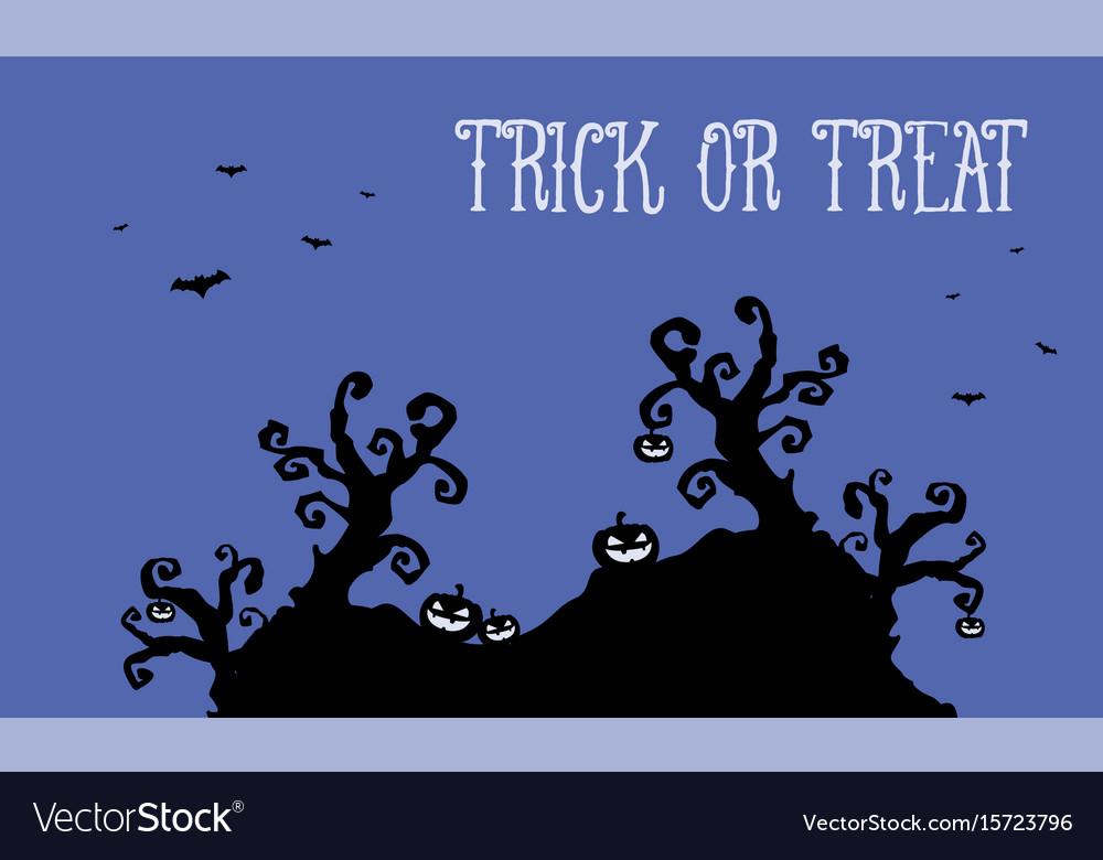 Pumpkin and bat halloween landscape at night vector image