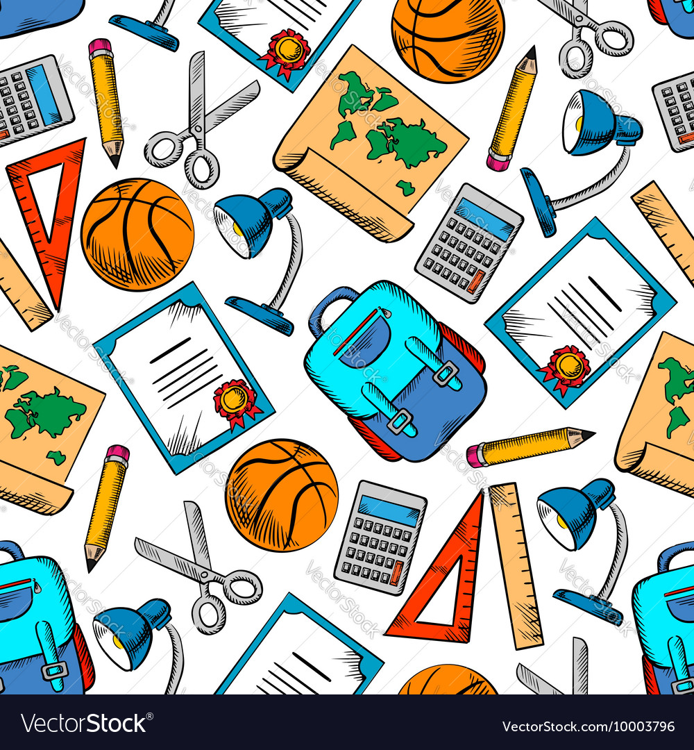School supplies sporting items seamless pattern vector image