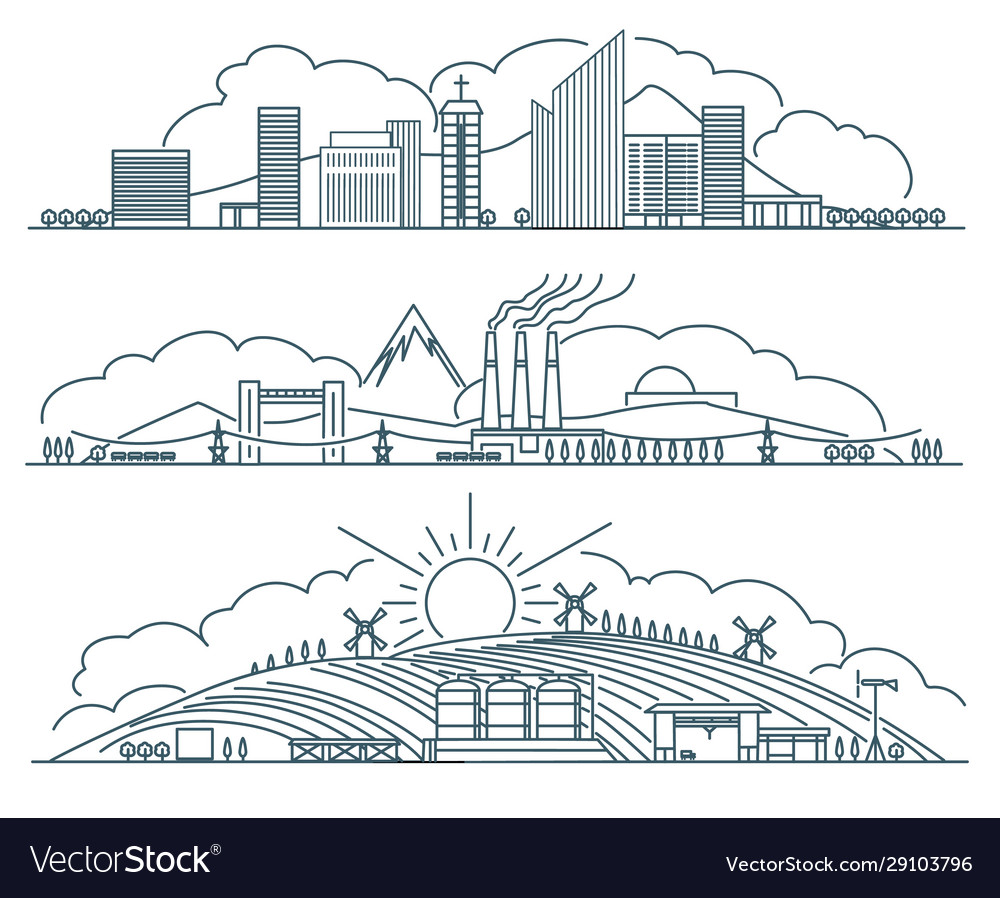 Urban landscape linear icons set