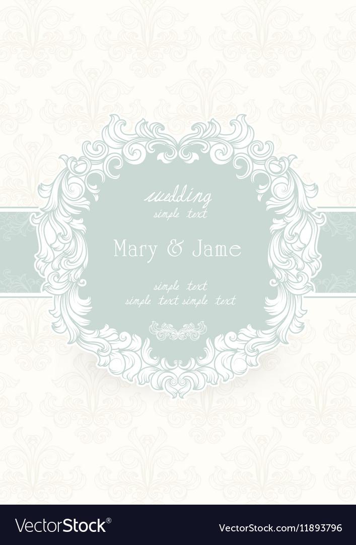 Wedding Invitation Card Vintage Ornate Card