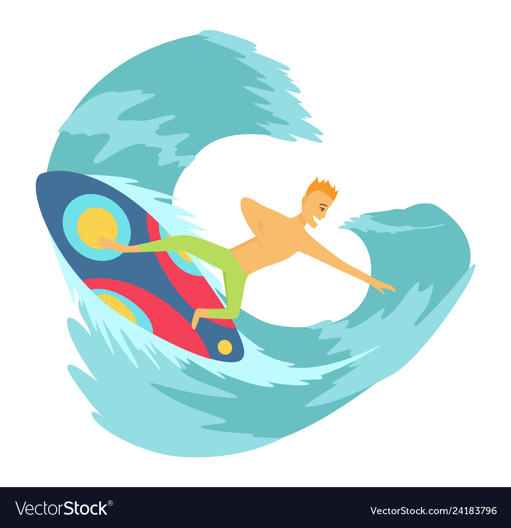 Young man surfboarder riding a surfboard in the