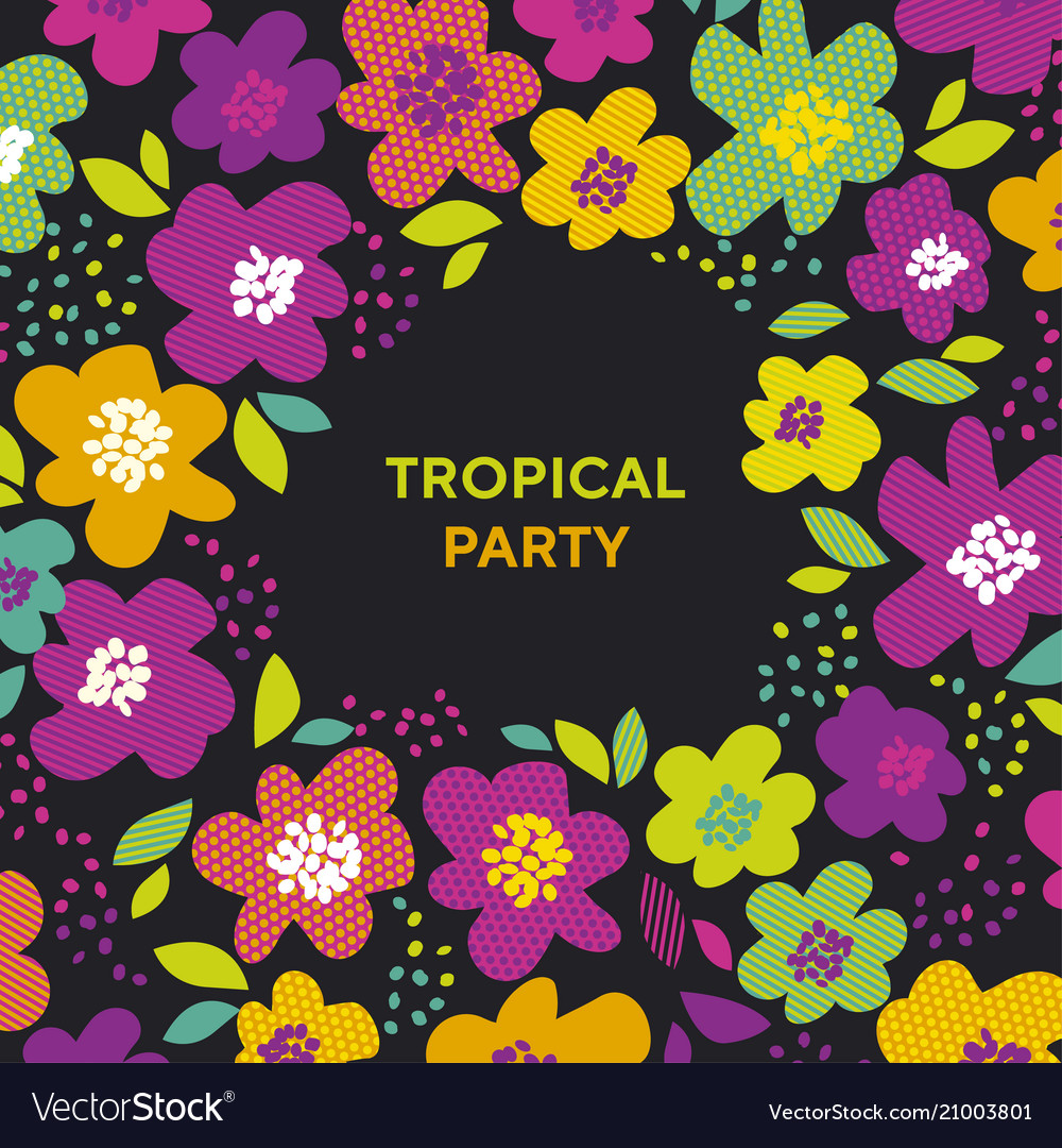 Abstract tropical color floral pattern