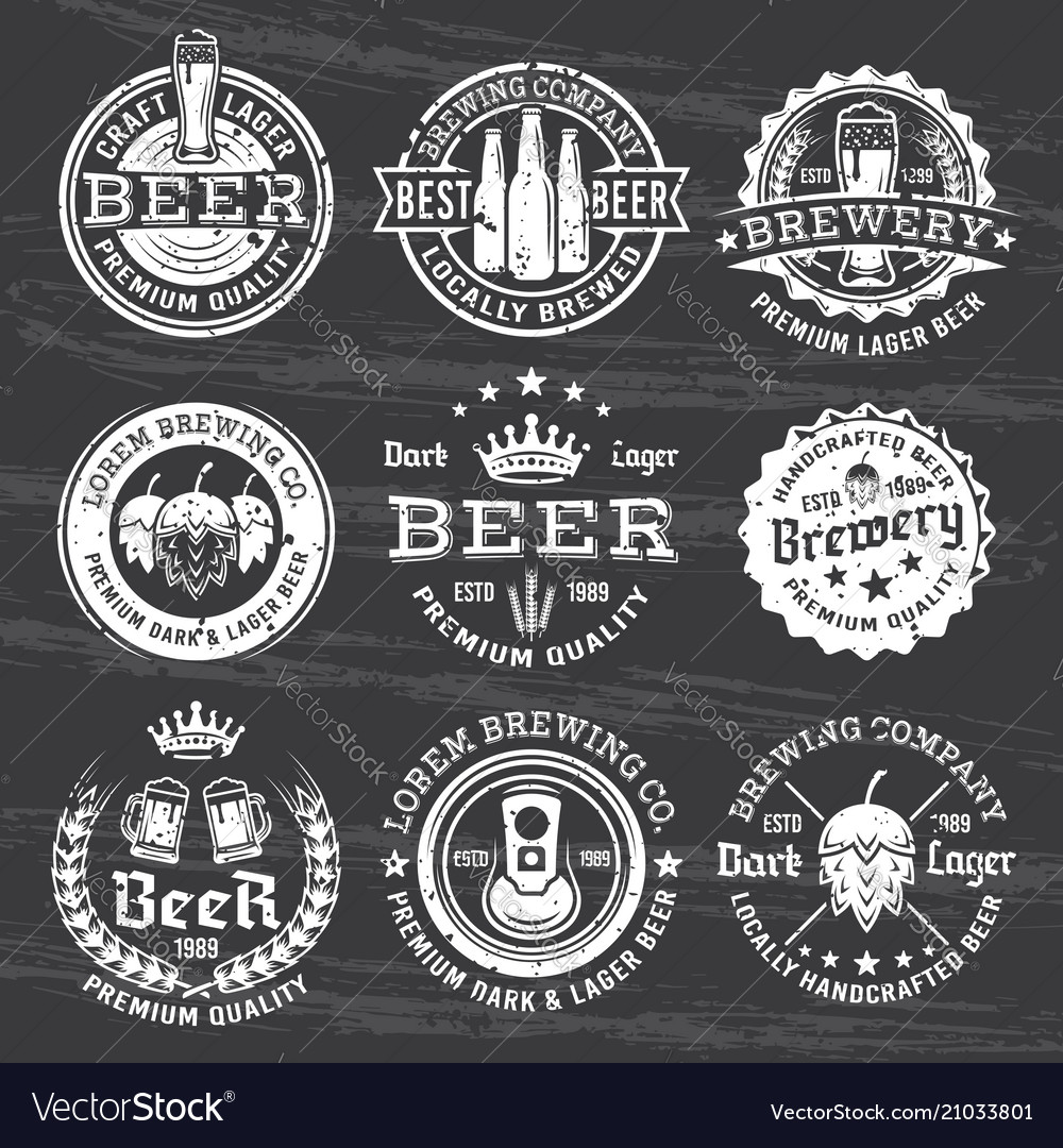 Beer and brewery white emblems on dark