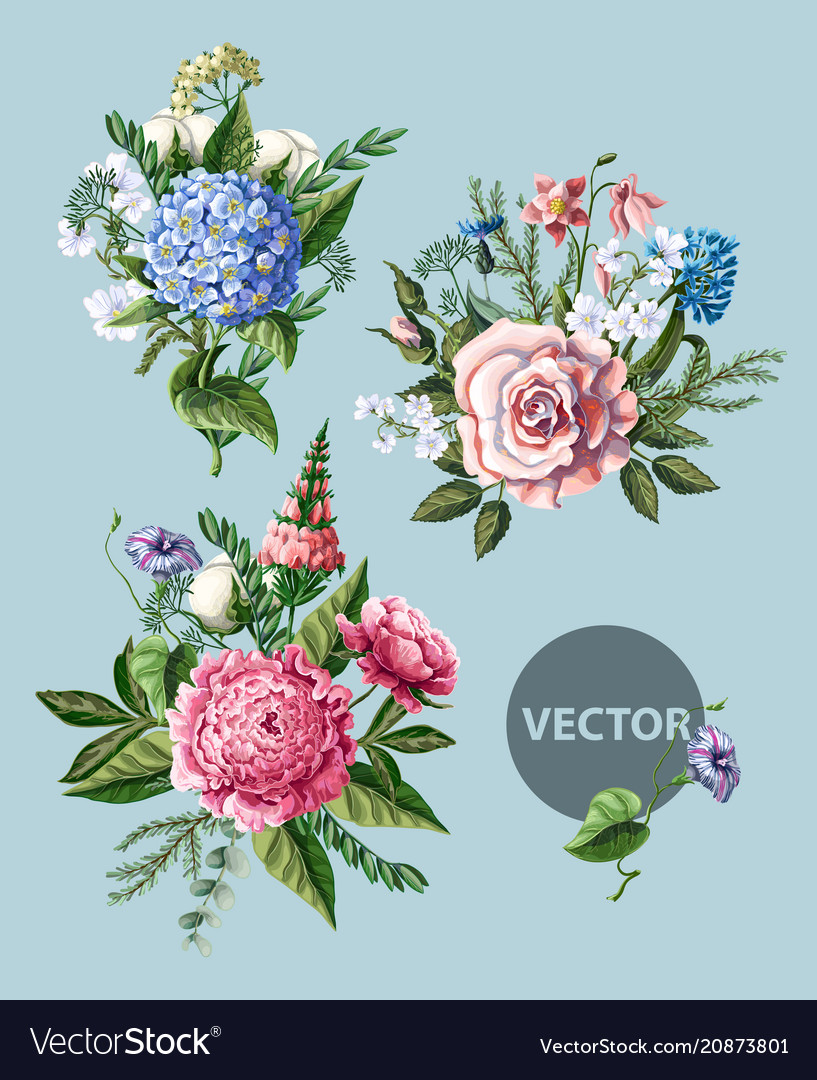 Bouquets with peony rose and wild flowers vector image izmirmasajfo
