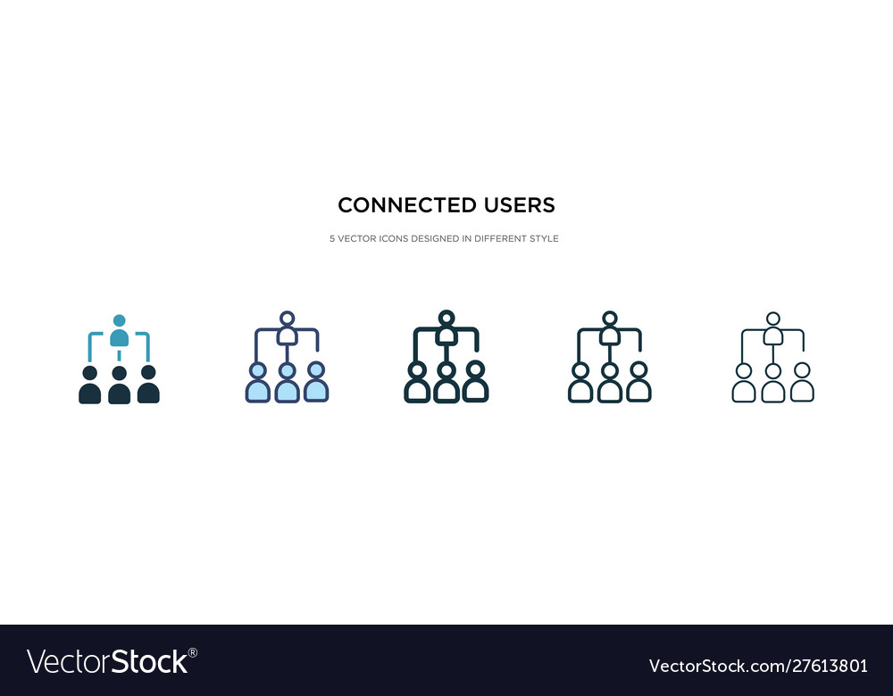 Connected users in flow chart icon in different