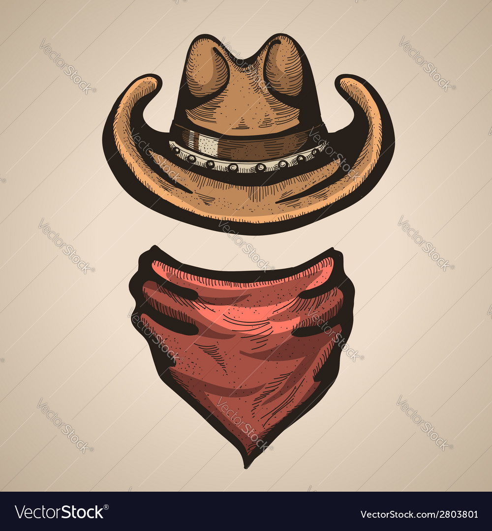Cowboy hat and bandana scraf
