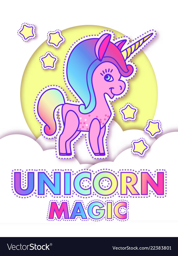 Cute greeting cards with magic unicorn