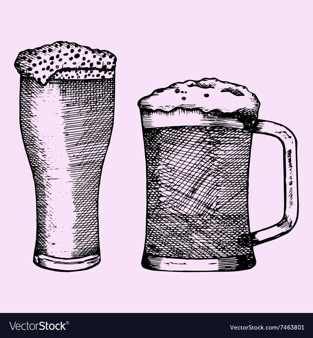 Glass beer foam vector image