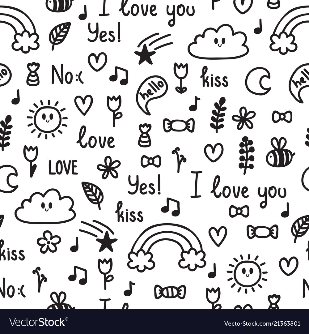 Hand drawn seamless pattern on love theme doodle