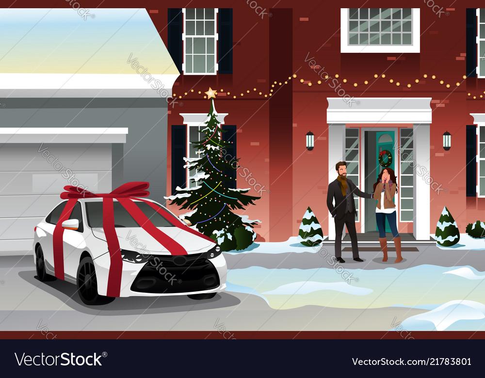 Husband Giving Wife Christmas Gift Royalty Free Vector Image