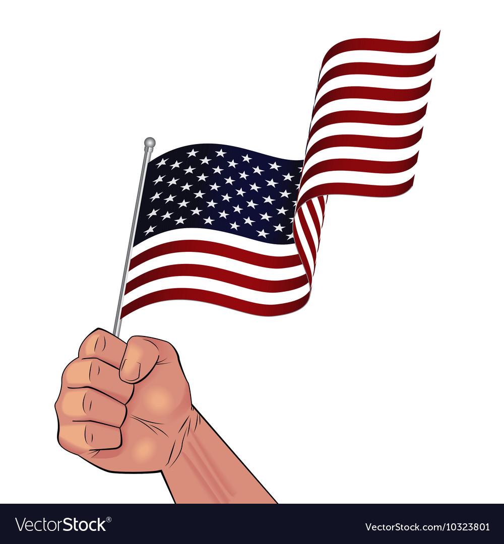 man hand holding waving usa flag royalty free vector image rh vectorstock com waving american flag vector format waving american flag vector free download