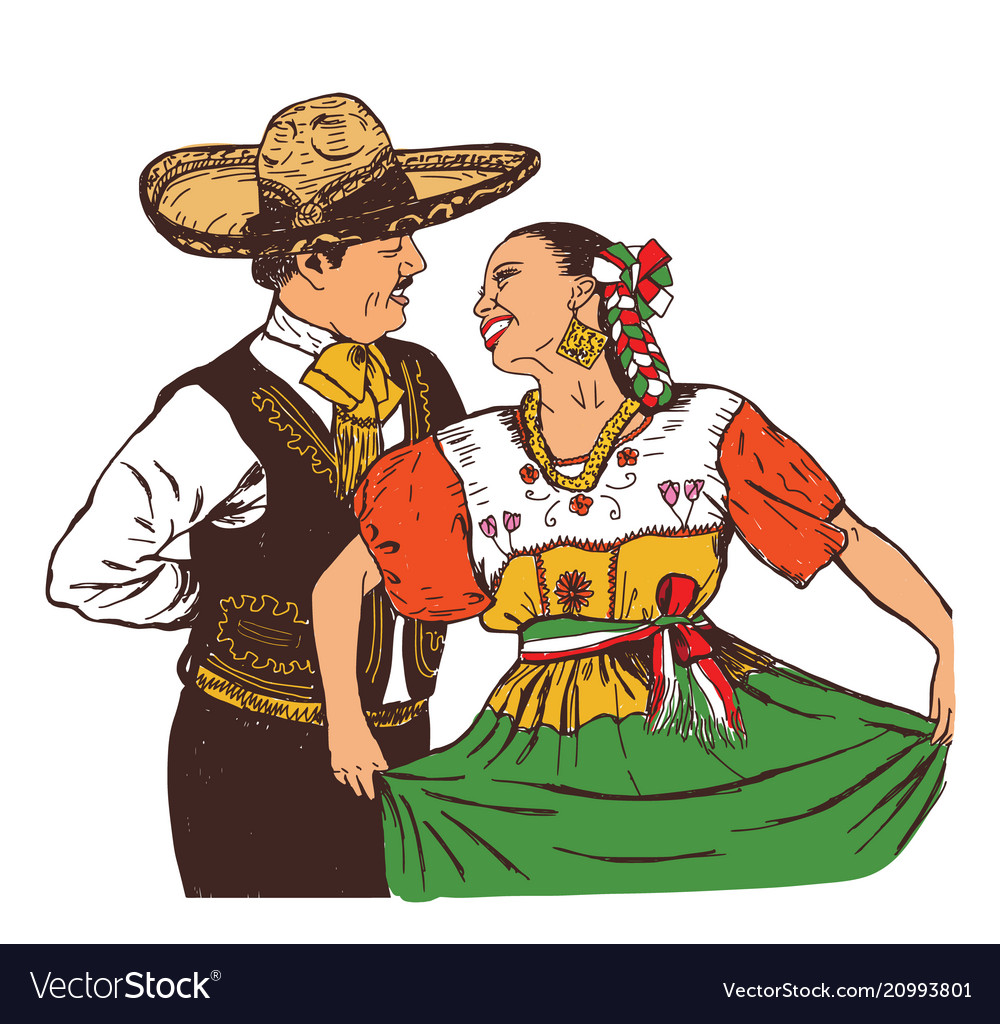 Mexicans dance in national costumes