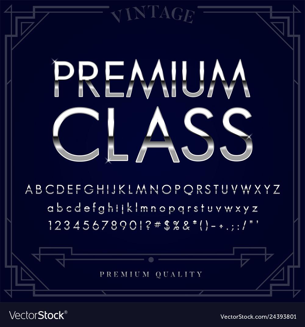 Platinum silver or chrome metallic font set