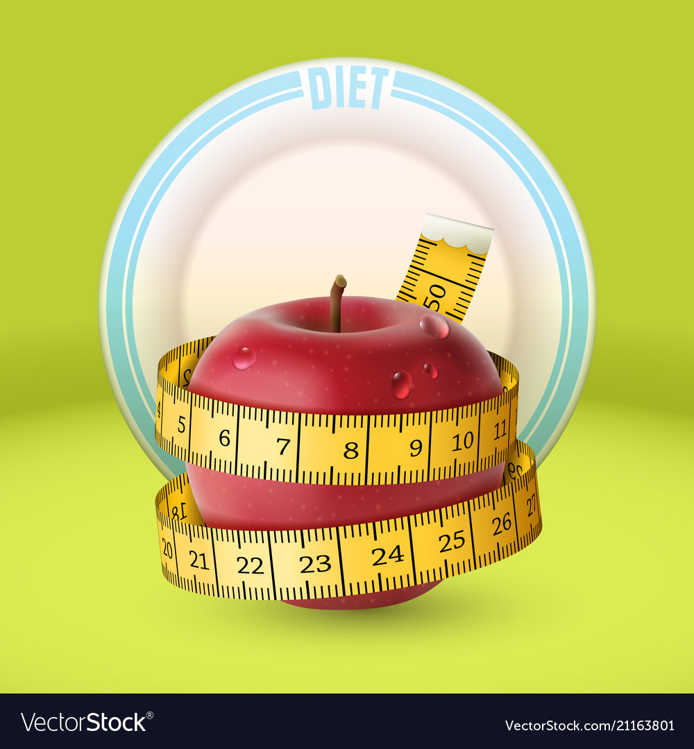 Red apple yellow measuring tape dish diet
