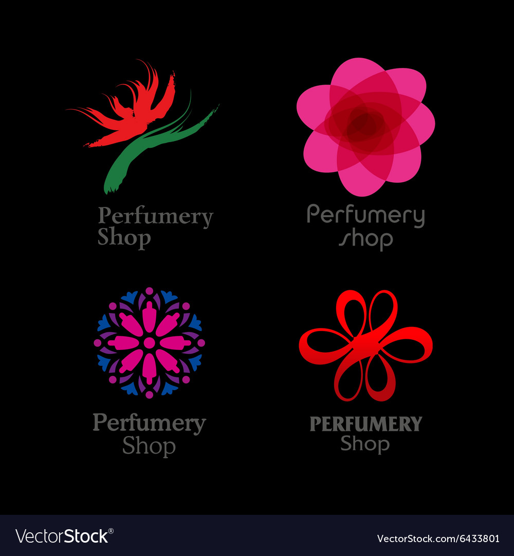 Red green and purple perfumery brand logos set on vector image