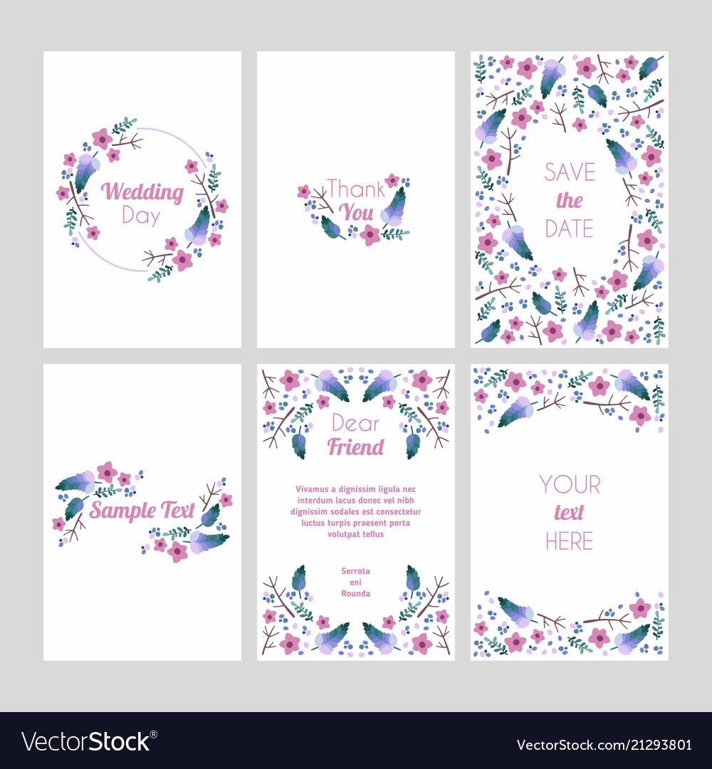 Set cards with floral design elements wedding