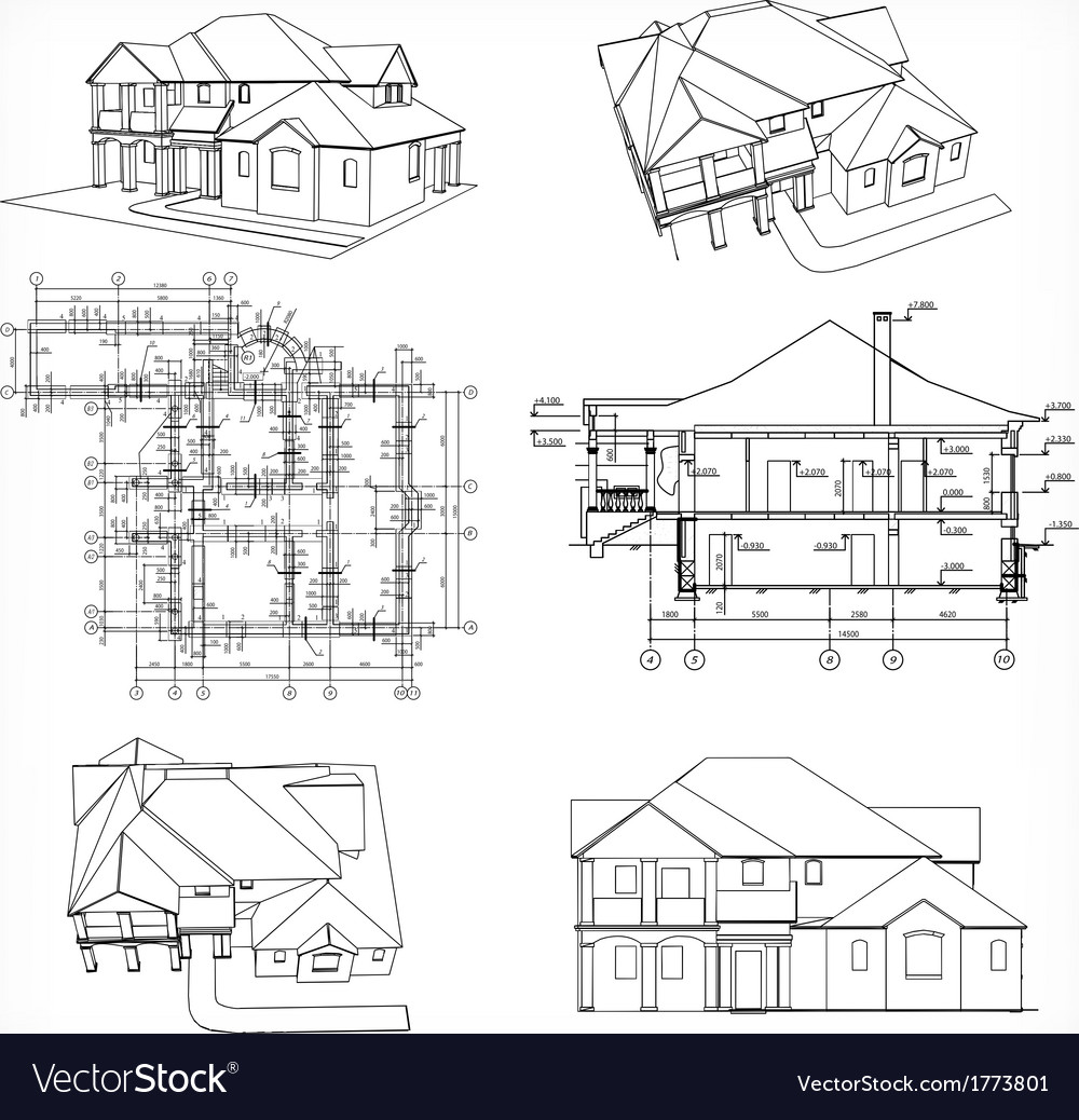 Set houses and blueprint royalty free vector image set houses and blueprint vector image malvernweather Image collections