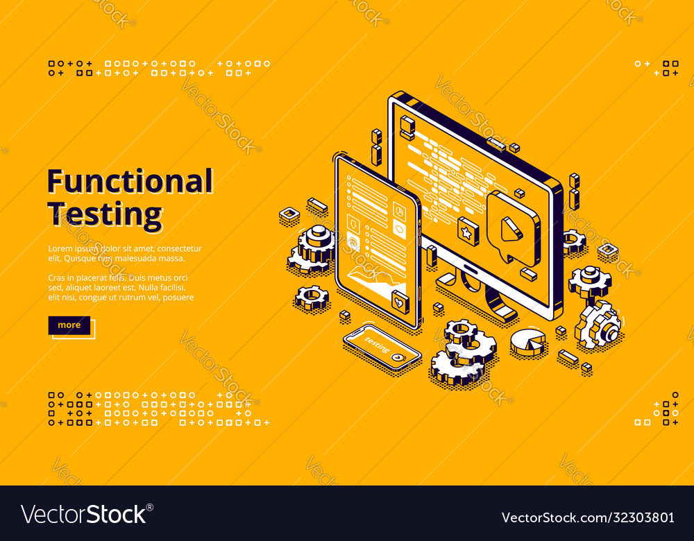 Software testing isometric banner functional test