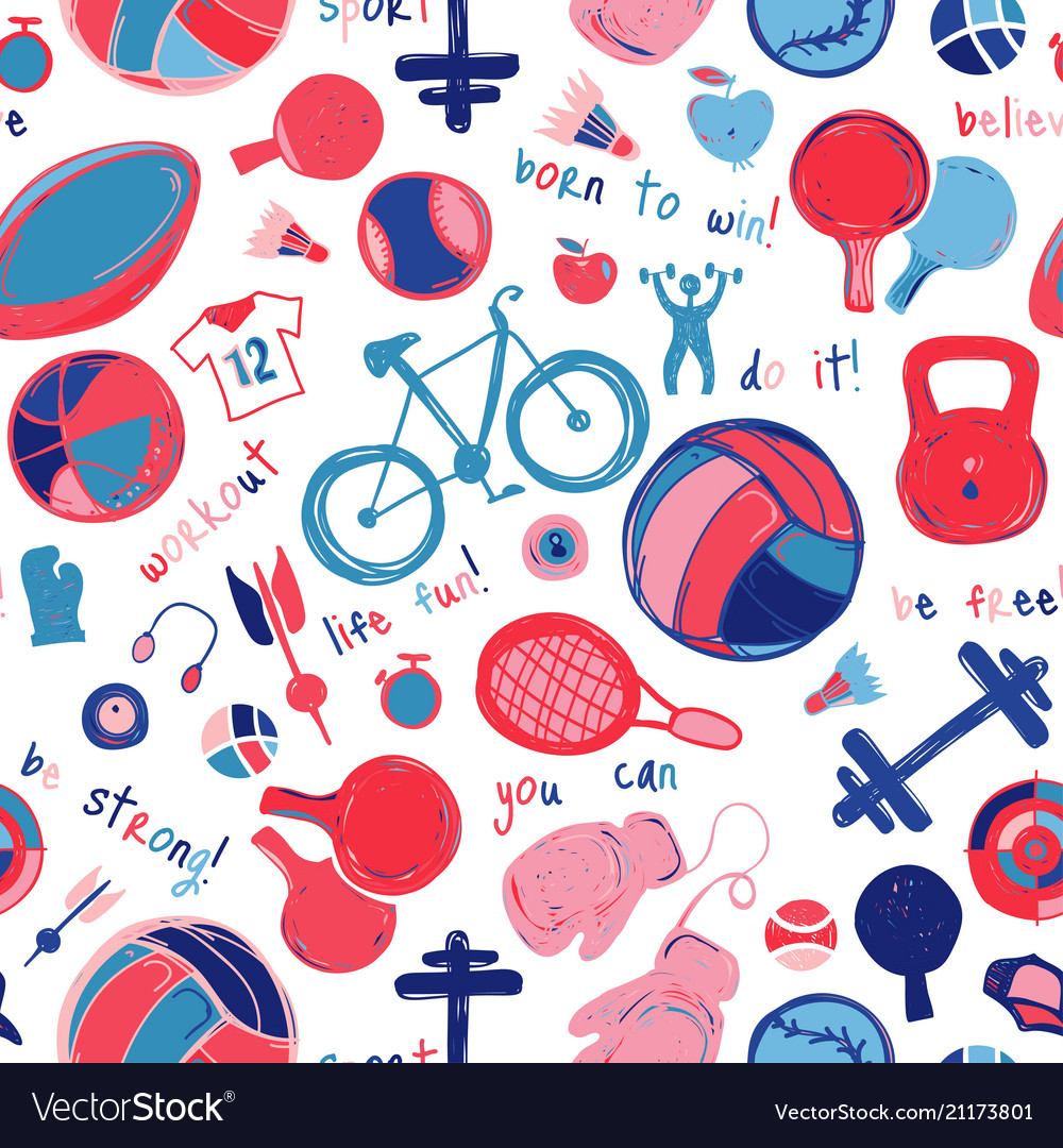 Sport sketch pattern hand drawn
