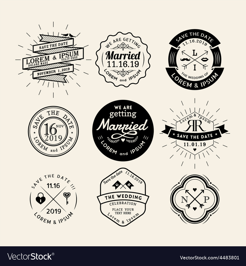 Vintage retro wedding logo frame design element