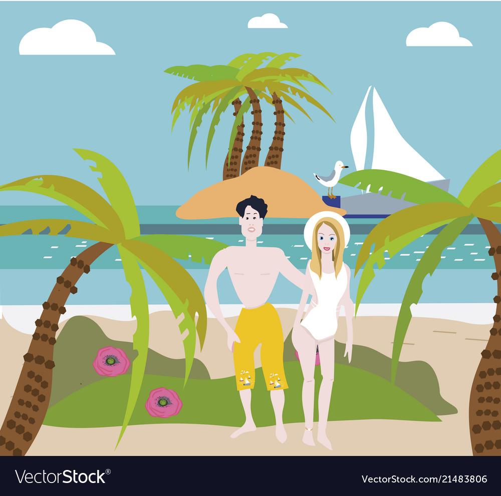 Beach couple walking on romantic travel honeymoon