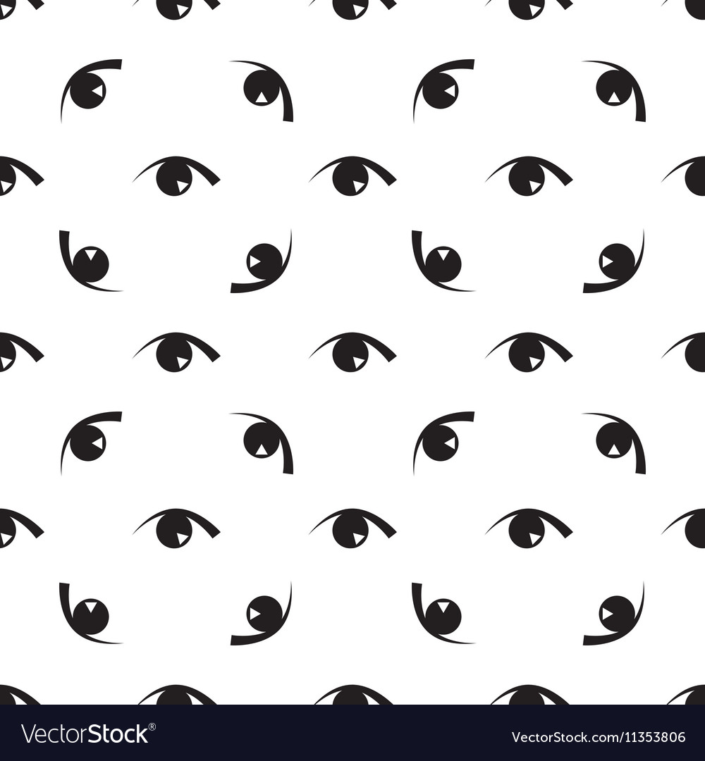 Black white seamless pattern with eyes