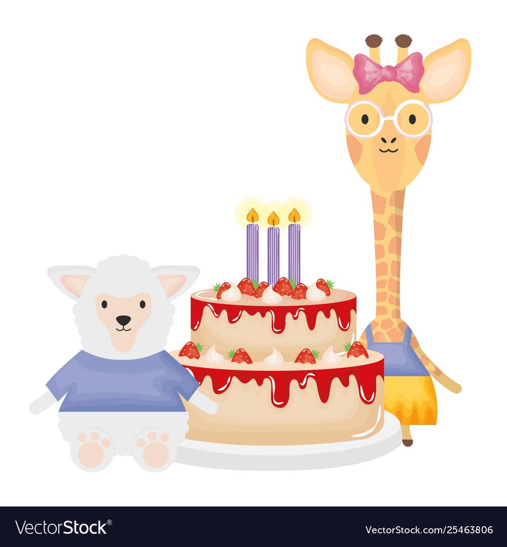 Stupendous Cute Sheep And Giraffe With Cake In Birthday Party Funny Birthday Cards Online Benoljebrpdamsfinfo