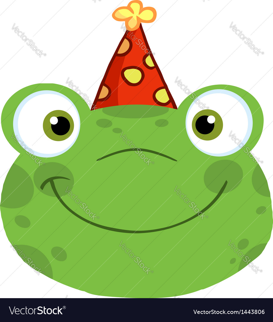 frog birthday Frog Smiling Head With Birthday Hat Royalty Free Vector frog birthday