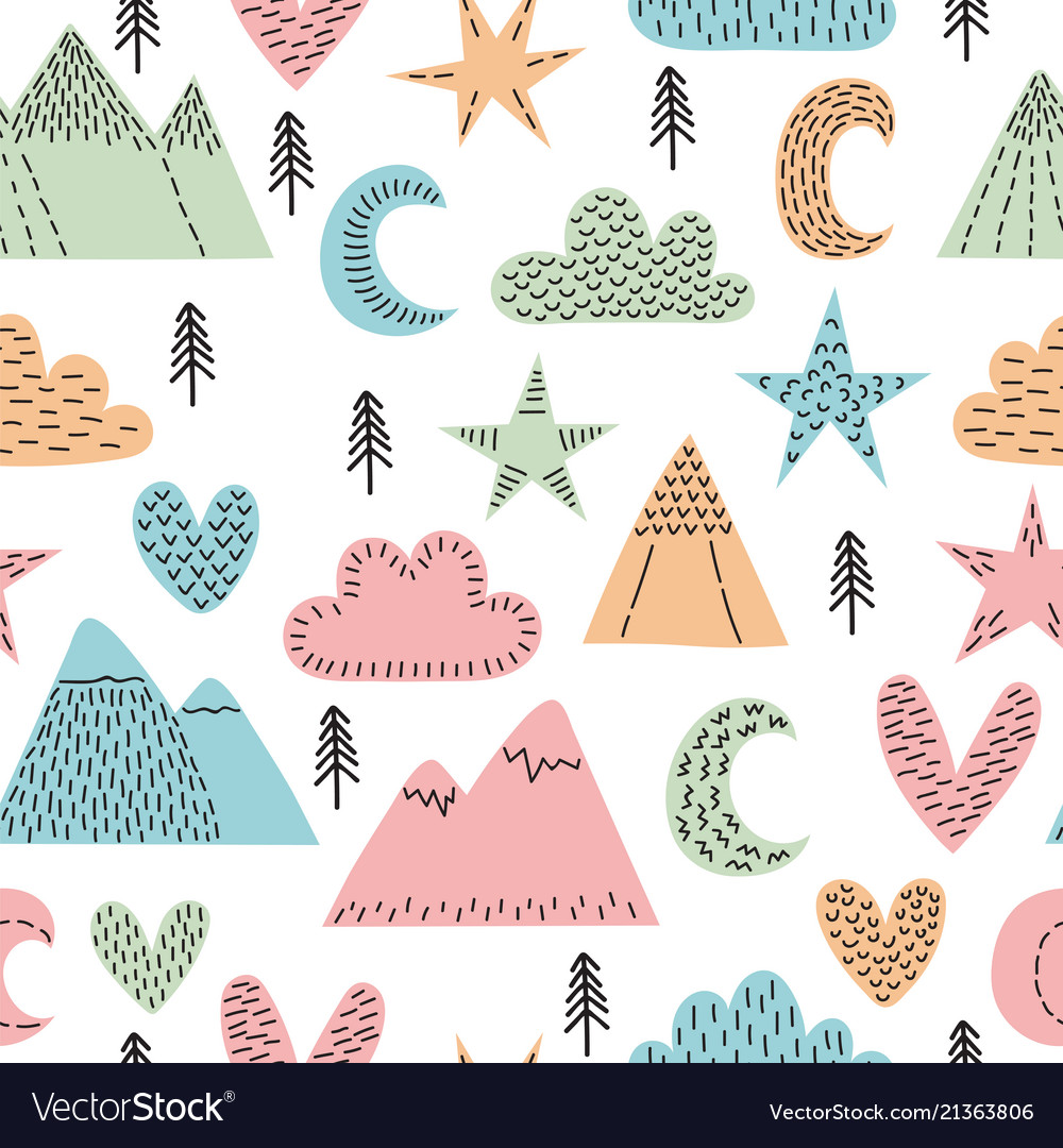 Hand drawn seamless pattern with trees stars